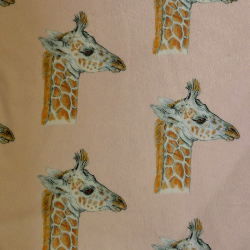 Giraffe Baby Minky-Pink Image