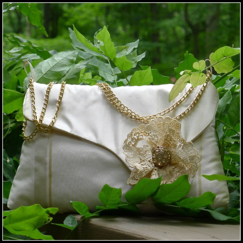 Doris-Clutch-Silk and Vintage Lace Image