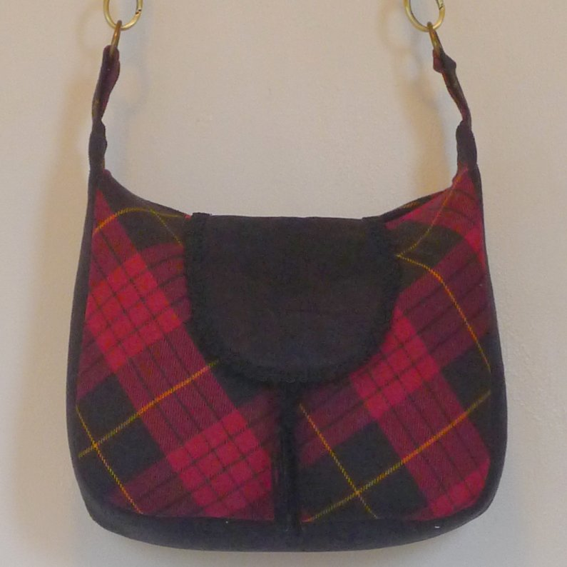 Medium Messenger-Tartan and Suede Image